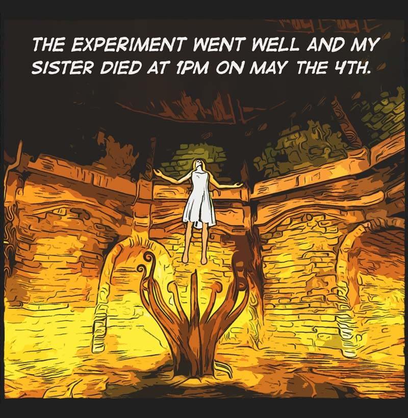 Comic panel. underground chamber, bright yellow light. Woman, levitating white dress, sacrificial altar.