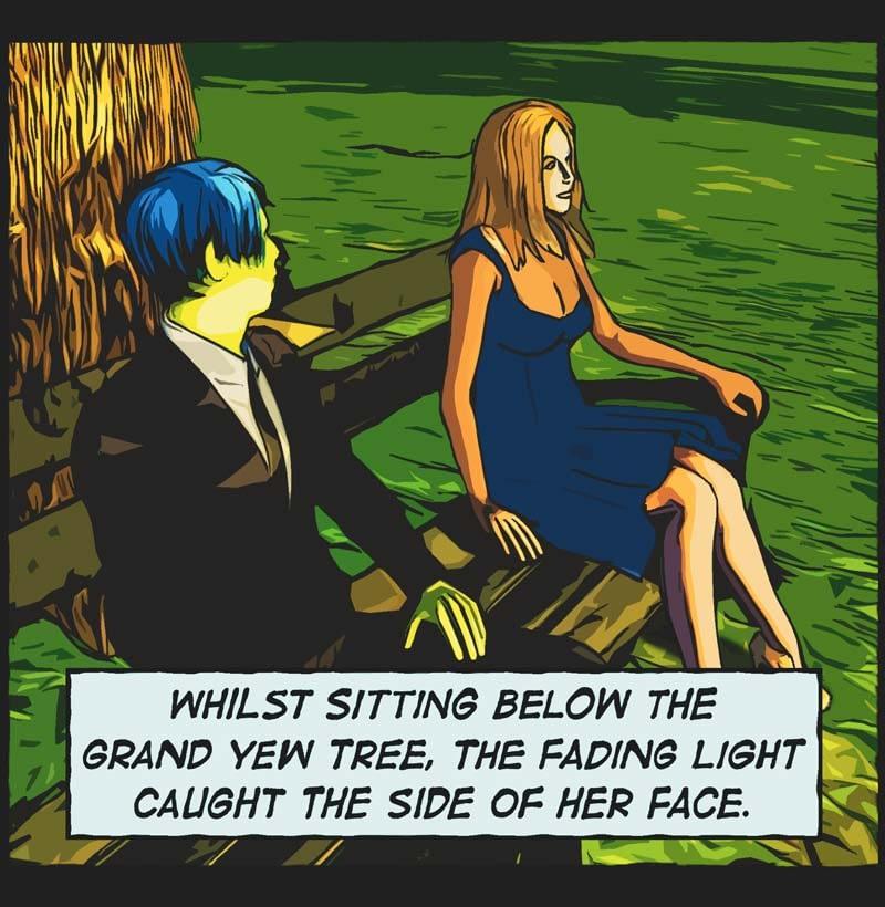 comic panel. man, woman sitting park bench.