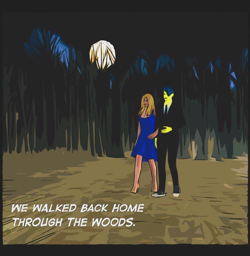 comic panel. man, woman walking, night, dark woods, full moon.