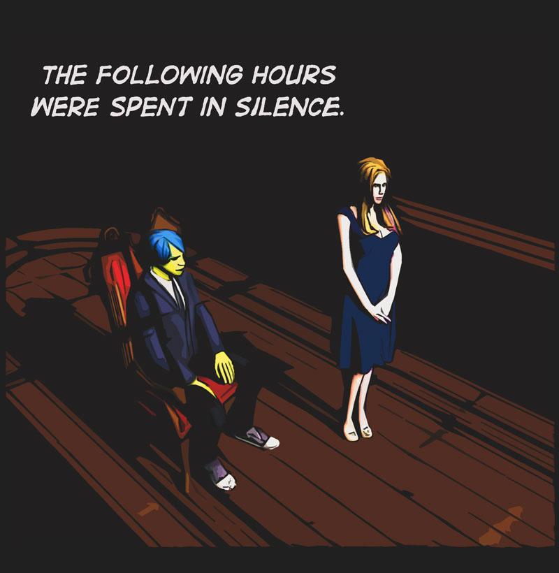 Comic panel. Man sitting. Woman standing. Dark room, shadows, moonlight.