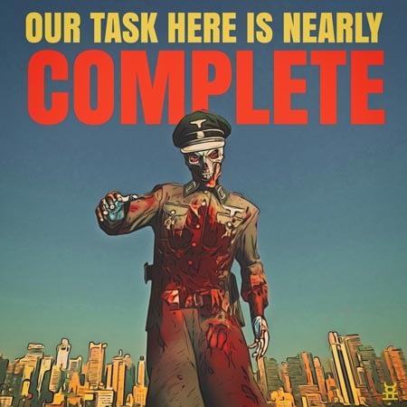 Cartoon Nazi skeleton - Poster.