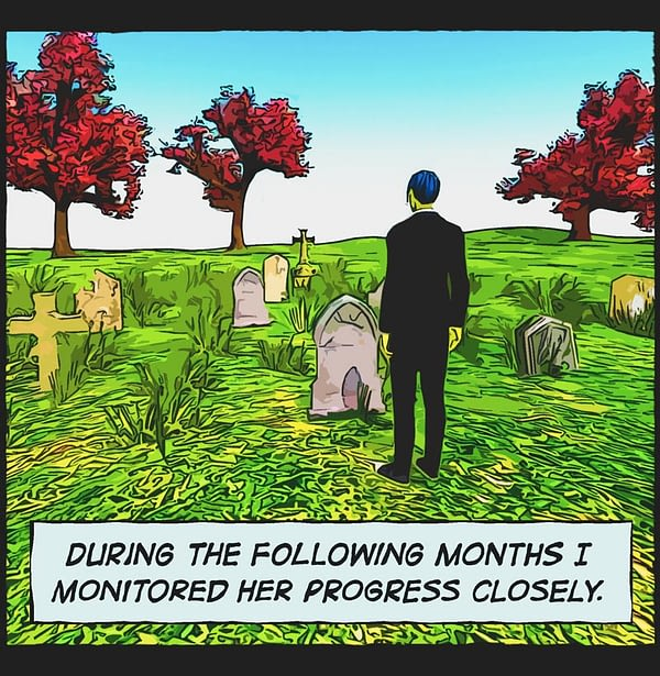 comic panel. Cemetery. Man standing, trees, red leaves, head stones.