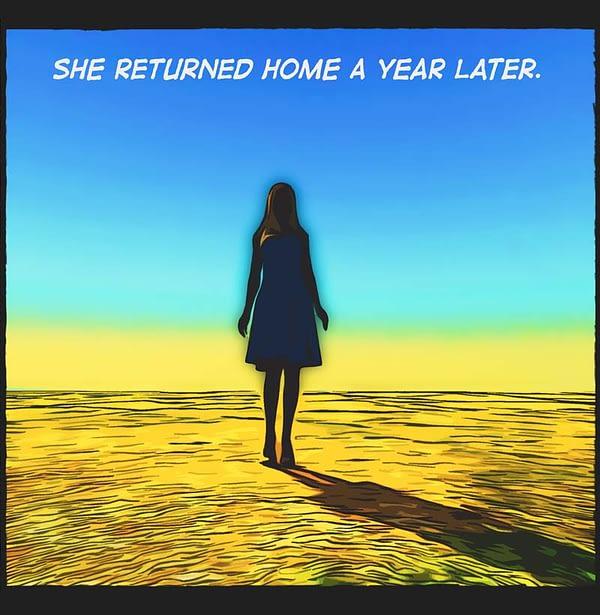 comic panel. woman shillouette, short dress. Blue sky, empty field.