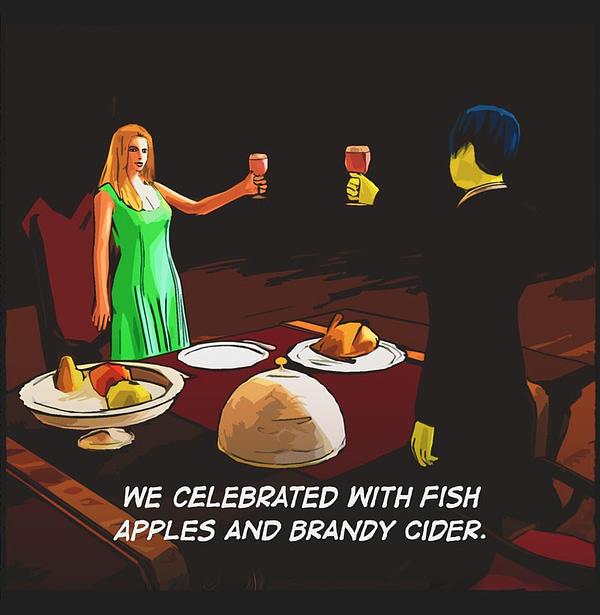 comic panel. man, dark suit, woman, green dress, celebrate. Raised glasses, banquet.
