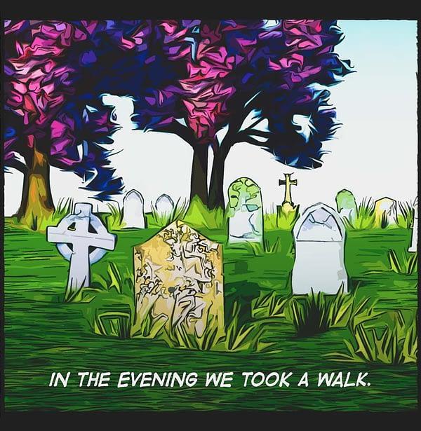 comic panel. cemetery, headstones, grass, trees, purple blossom.