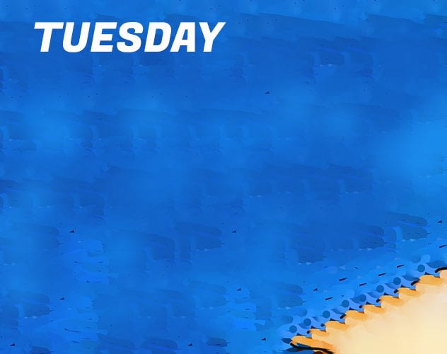 blue background - Title: 'Tuesday'.