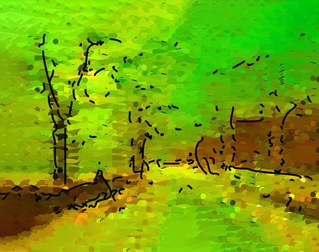 Impressionist painting of leafy suburban street.