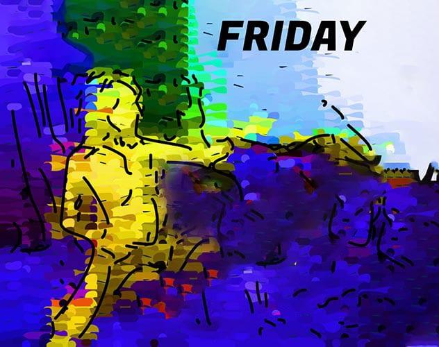 abstract cartoon. Title caption: 'FRIDAY'