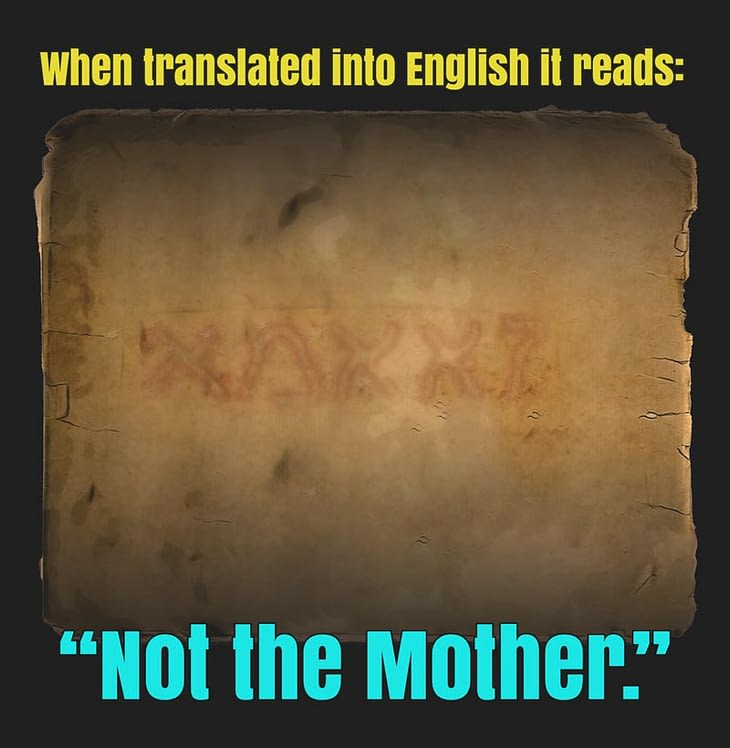 """hebrew text translation: """"Not the mother"""""""