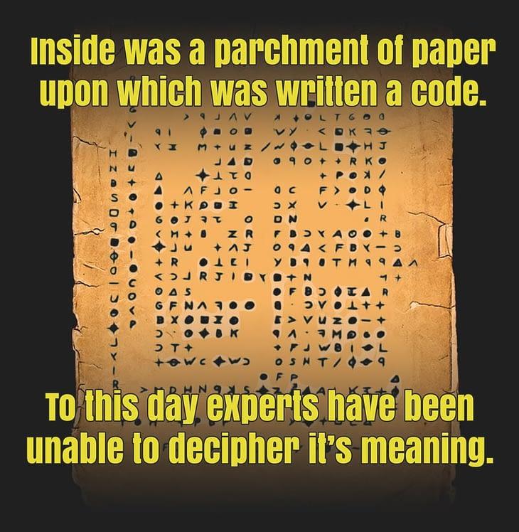 parchment paper, cryptic symbols
