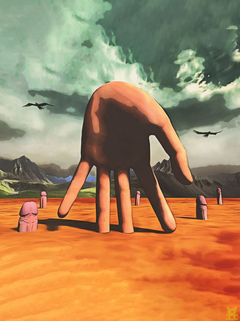 Surreal landscape painting. Giant hand surrounded by penises growing in desert.