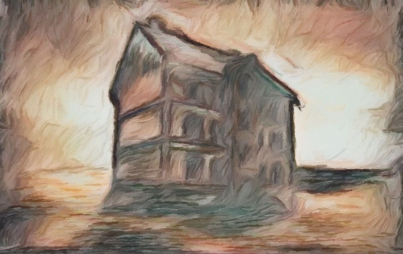 Impressionist painting - creepy mansion house surrounded by baron landscape