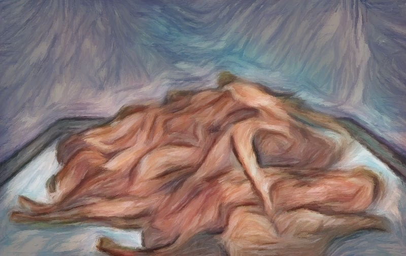 Impressionist painting - pile of corpses.