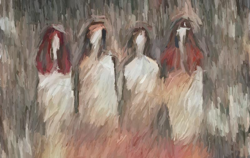 Impressionist painting - female apparitions