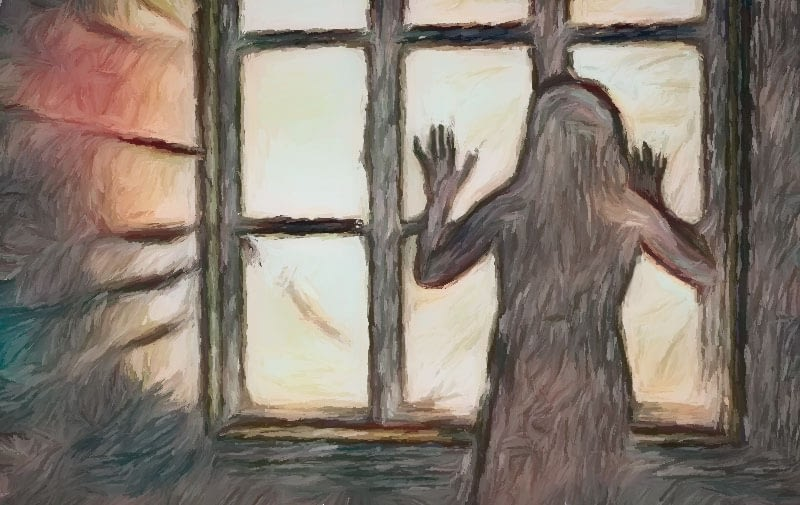woman in silhouette standing against window.