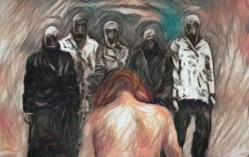 Masked men surround a woman.