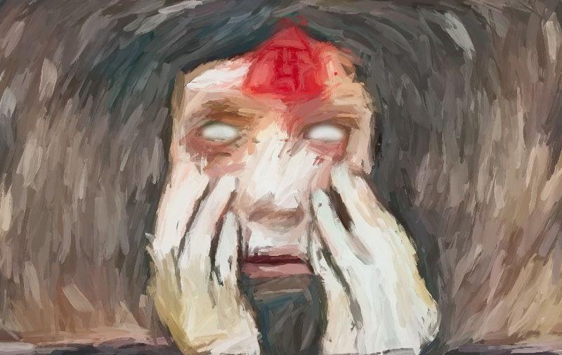 mutilated face showing white eyeballs.