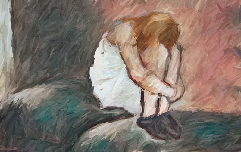 Impressionist painting: woman seated on bed in fetal position.