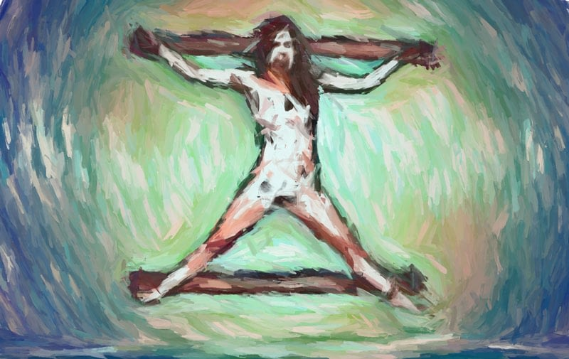 Impressionist painting - female crucified.