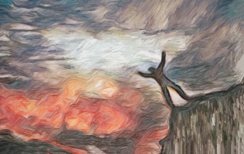 man falling off cliff edge into flames.