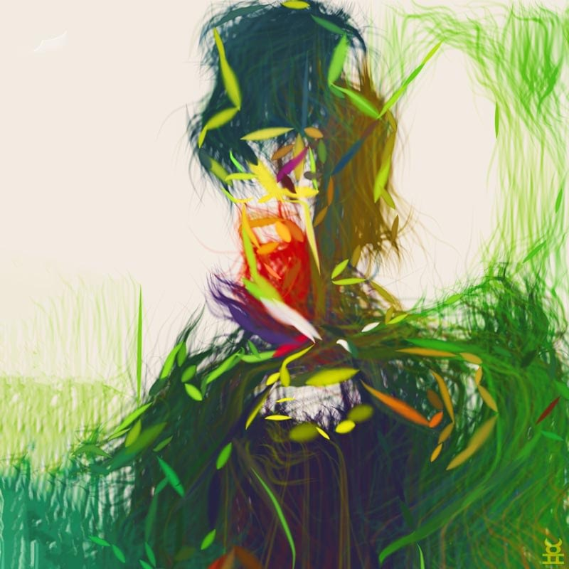 abstract painting, man in top hat wearing grass cape.