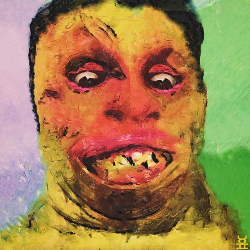 Portrait painting - Grotesque slug face.